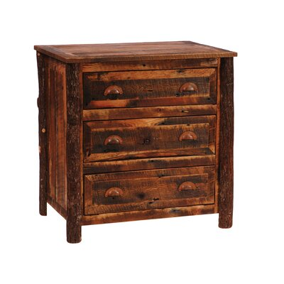No credit check financing Reclaimed Barnwood 3 Drawer Chest L...