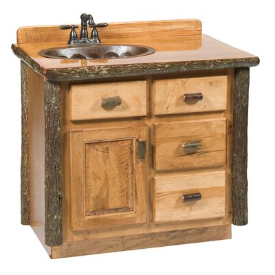 Hickory 36 Bathroom Vanity Base Orientation: Right, Base Finish: Rustic Maple, Top: Rustic Maple