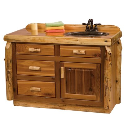 Traditional Cedar Log 48 Bathroom Vanity Base Orientation: Right, Top: Slab top with Liquid Glass finish