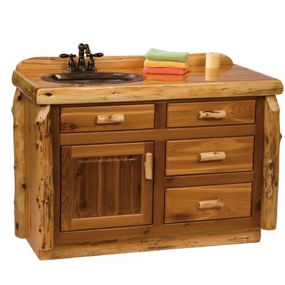"Traditional Cedar Log 48"" Bathroom Vanity Base Top: Slab top with Liquid Glass finish, Orientation: Center"