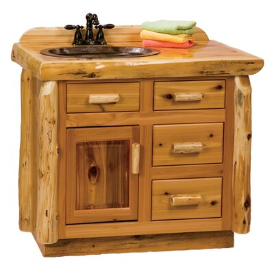 Traditional Cedar Log 42 Bathroom Vanity Base Orientation: Center, Top: With Liquid Glass Finish