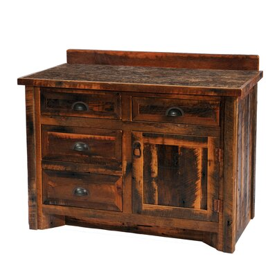 Reclaimed Barnwood 42 Bathroom Vanity Base Leg Style: Hickory Legs, Orientation: Center, Top: With Laminate Top
