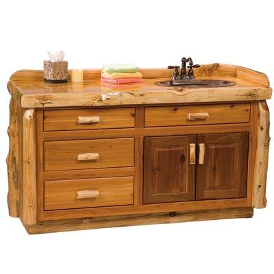 Traditional Cedar Log 60 Bathroom Vanity Base Top: Slab top with Liquid Glass finish, Orientation: Double Sink