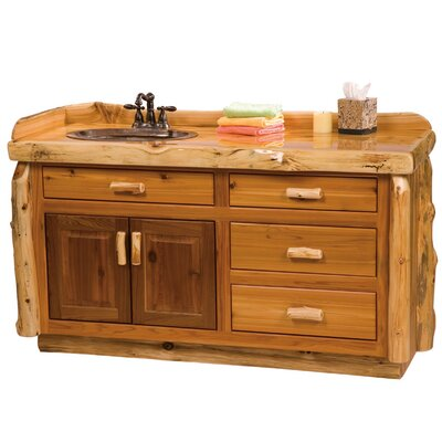 Traditional Cedar Log 60 Bathroom Vanity Base Orientation: Right, Top: Slab top with Liquid Glass finish