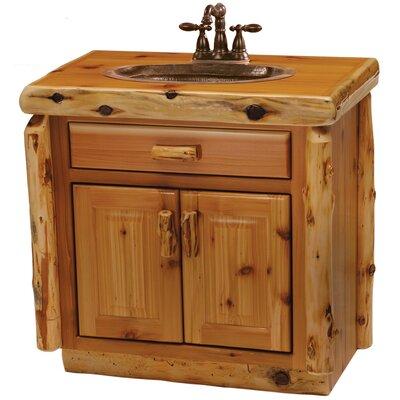 Traditional Cedar Log 30 Bathroom Vanity Base Top: Wood Top with Liquid Glass Finish