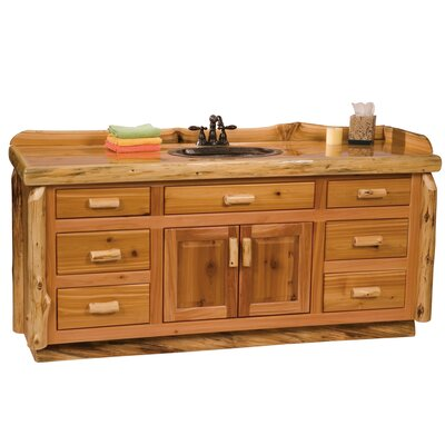 Traditional Cedar Log 72 Bathroom Vanity Base Orientation: Center, Top: Slab top with Liquid Glass finish