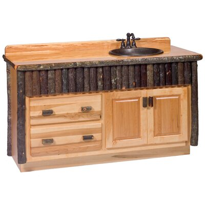 Hickory 60 Bathroom Vanity Base Orientation: Left, Top: Rustic Alder, Base Finish: Rustic Alder
