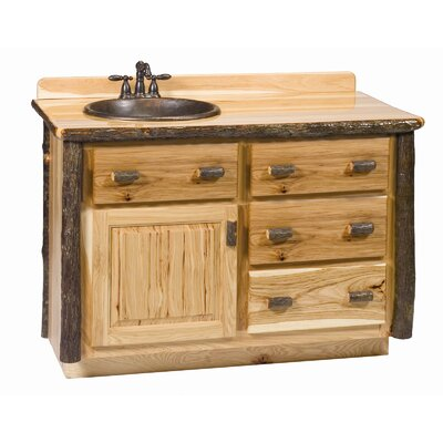 Hickory 48 Bathroom Vanity Base Orientation: Right, Top: Rustic Alder, Base Finish: Rustic Alder