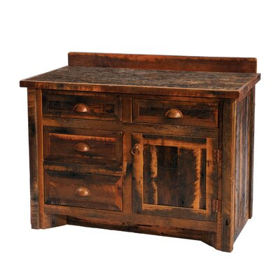 Reclaimed Barnwood 36 Bathroom Vanity Orientation: Center, Top: With Laminate Top, Leg Style: Barnwood Legs