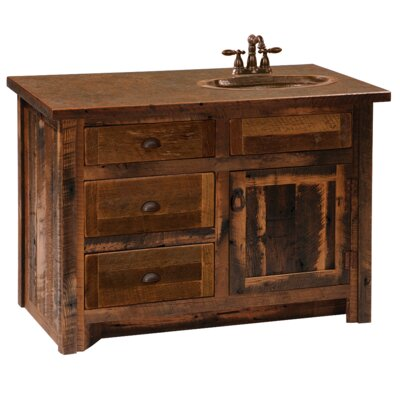 Reclaimed Barnwood 42 Bathroom Vanity Base Leg Style: Barnwood Legs, Orientation: Right, Top: With Laminate Top