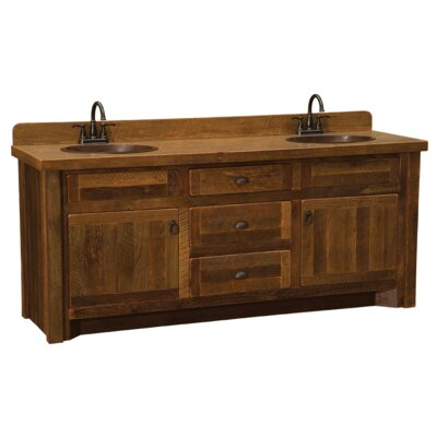 Reclaimed Barnwood 60 Bathroom Vanity Base Orientation: Right, Top: With Laminate Top, Leg Style: Hickory Legs