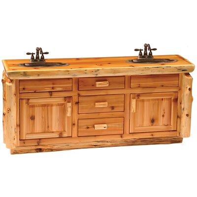 Traditional Cedar Log 72 Bathroom Vanity Base Orientation: Double Sink, Top: Slab top with Liquid Glass finish