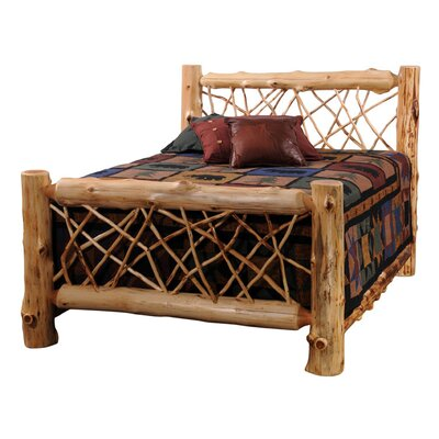 Traditional Cedar Log Panel Bed Size: King, Color: Vintage Finish