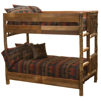 Hickory Bunk Bed with Barnwood Rail Size: Queen/Single Ladder Right