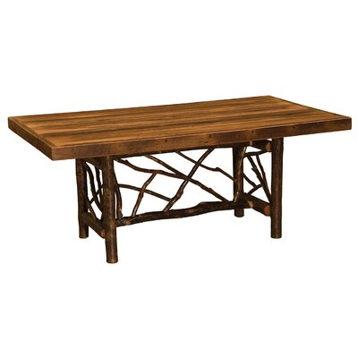 Hickory Twig Log Dining Table Size: 30 H x 42 W x 96 D