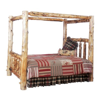 Traditional Cedar Log Canopy Bed Size: Queen, Color: Vintage Finish