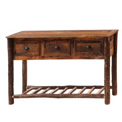 Cheap Fireside Lodge Reclaimed Barnwood Console Table with Three Drawer (FDL1957)