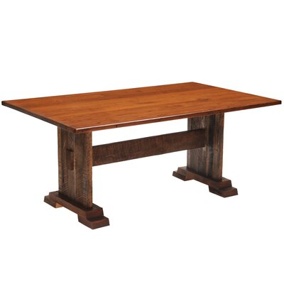 Reclaimed Barnwood Rectangle Harvest Dining Table Color: Antique Oak, Size: 84 W x 42 D x 30 H