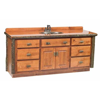"Hickory 60"" Single Bathroom Vanity Set Top: With top, Cabinet Finish: Rustic Alder, Sink Orientation: Right"