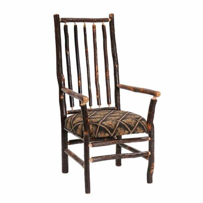 Hickory High Back Spoke Back Fabric Arm Chair