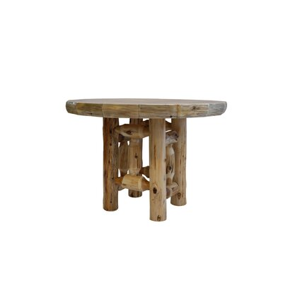 Traditional Cedar Log Round Dining Table Color: Liquid Glass, Size: 48 W x 30 H