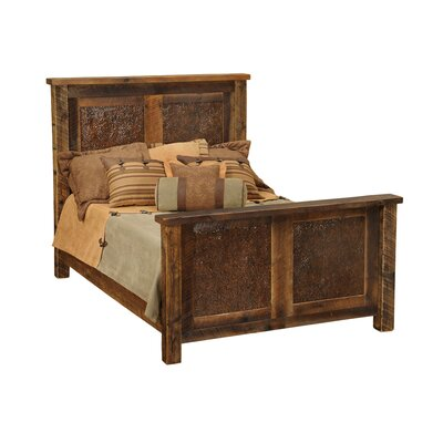 Barnwood Copper Inset Panel Bed Size: King