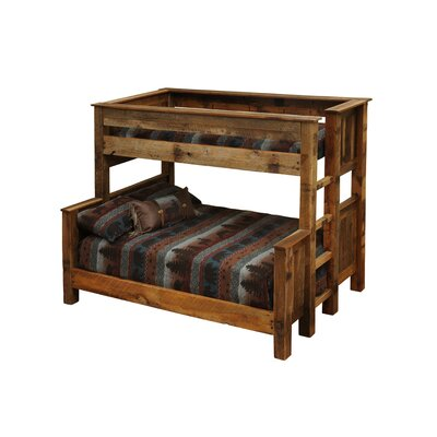 Barnwood Bunk Bed Configuration: Twin over Queen with Ladder on Right