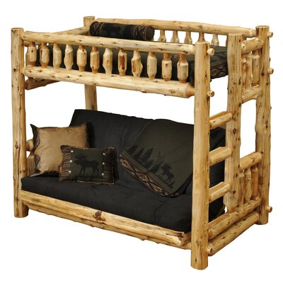 Traditional Cedar Log Twin Futon Bunk Bed Color: Traditional