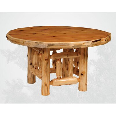 Traditional Cedar Log Round Dining Table Finish: Liquid Glass, Size: 54 W x 30 H