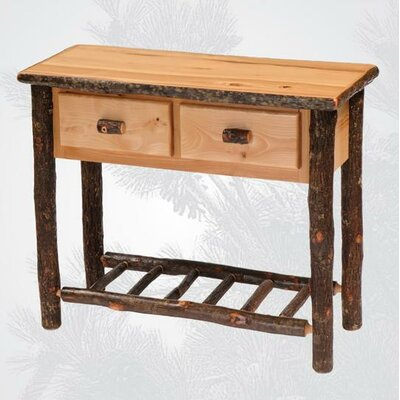 Hickory Two Drawer Console Table Finish: Rustic Alder
