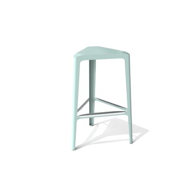 Clic 30 Bar Stool Color: Stainless Steel with Satin, Upholstery: Sea Green