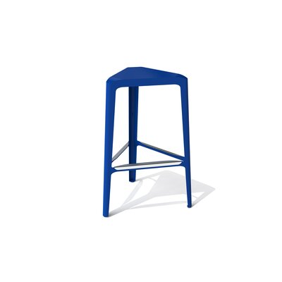 Clic 30 Bar Stool Color: Stainless Steel with Satin, Upholstery: Blue