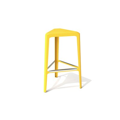 Clic 30 Bar Stool Color: Stainless Steel with Satin, Upholstery: Yellow