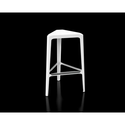 Clic 30 Bar Stool Color: Stainless Steel with Satin, Upholstery: White