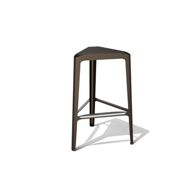 Clic 30 Bar Stool Color: Stainless Steel with Satin, Upholstery: Burnished Bronze Metallic