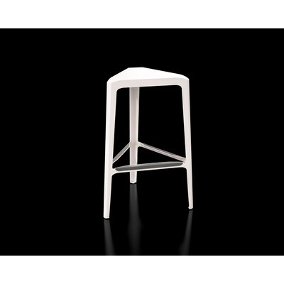 Clic 30 Bar Stool Color: Stainless Steel with Satin, Upholstery: Cream White