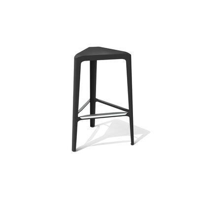 Clic 30 Bar Stool Color: Stainless Steel with Satin, Upholstery: Black