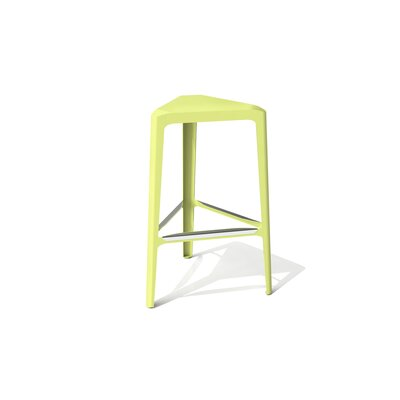Clic 30 Bar Stool Color: Stainless Steel with Satin, Upholstery: Lush Green