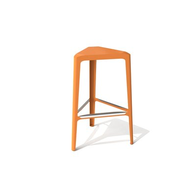 Clic 30 Bar Stool Color: Stainless Steel with Satin, Upholstery: Salmon Sky