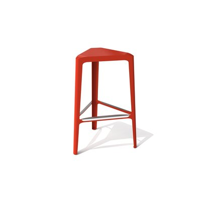 Clic 30 inch Bar Stool Finish: Stainless Steel with Satin, Upholstery: Red