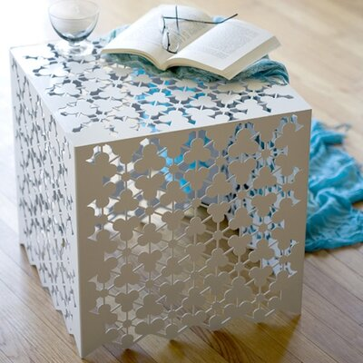 Ricami End Table Finish: Brilliant White
