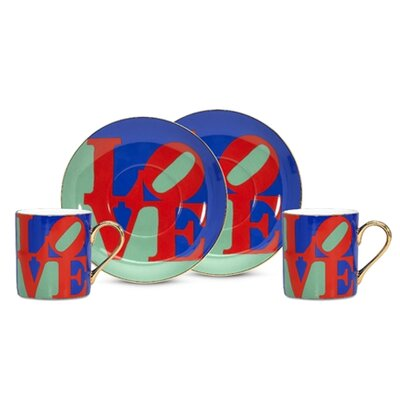 "PS Collection Robert Indiana ""Love"" Espresso Cup and Saucer Set"
