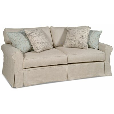 Bar Harbor Sofa Upholstery: Topsider Natural, Throw Pillow Color: Siera Cool Blue, Poka Cool Blue