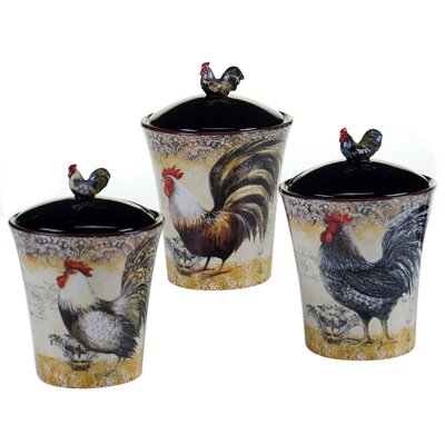 Vintage Rooster 3 Piece Storage Jar Set