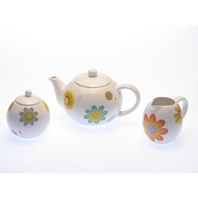 Certified International Modern Garden Teapot and Sugar and Creamer Set
