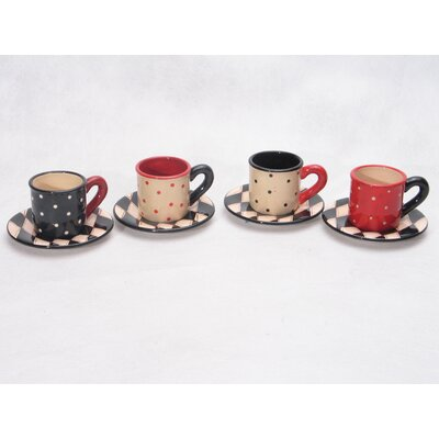 Certified International Coffee Cafe Assorted Espresso Cup with Saucer (Set of 4)