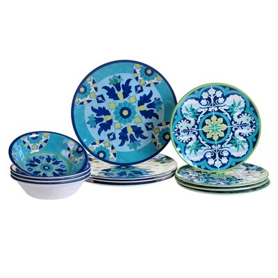 Granada Heavy Weight Melamine 12 Piece Dinnerware Set, Service for 4