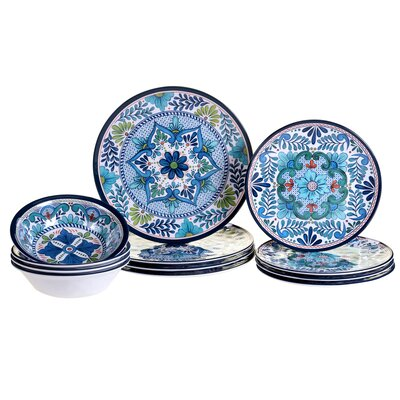 Talavera Heavy Weight 12 Piece Melamine Dinnerware Set, Service for 4