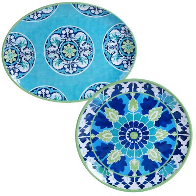 Granada Heavy Weight Melamine 2 Piece Platter Set