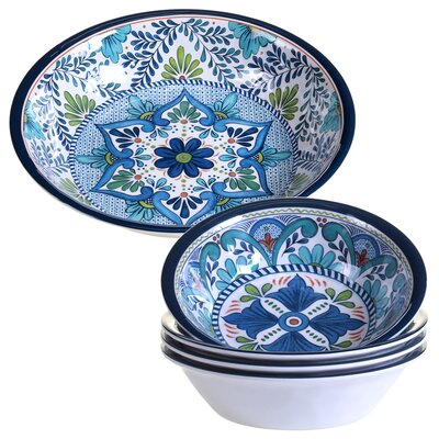 Talavera 5 Piece Heavy Weight Melamine Salad Serving Bowl Set